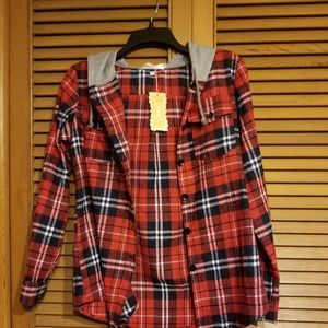 Unbranded Shirts & Tops - LAST ONE! Youth Sized Button Up Hooded Flannel Top